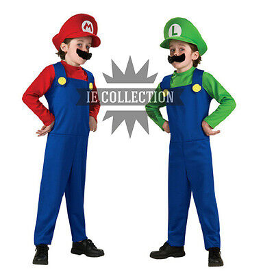 SUPER MARIO BROS. VESTITO COSTUME MARIO E LUIGI carnevale cosplay dress cappello