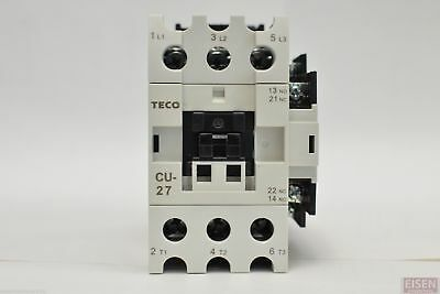 TECO CU-27 magnetic contactor, 45 amp, 3 phase, 24V coil, 3A1a1b (NO and NC)