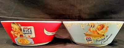 Pair of Kellogg's Vintage Throwback Advertising Cereal Bowls - 2005 - Neat!