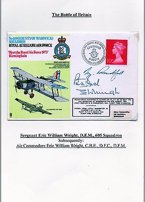 Hand Signed RAF Battle of Britain FDC by Eric William Wright & 2 others