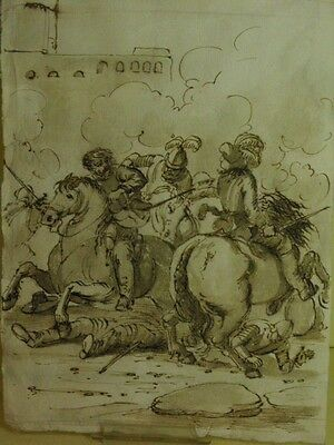 """OLD MASTER DRAWING """"Battle"""" 17th.C."""