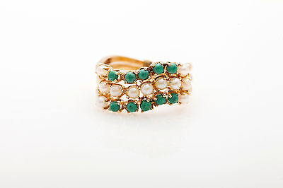 Antique 1950s Natural Turquoise Pearl 3 Ring 14k Yellow Gold Band  RARE HEAVY