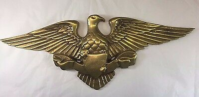 """Vintage Solid Brass American Eagle Wall Hanging Plaque 13"""" Long 5"""" Tall w Shield"""
