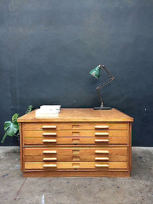 Vintage 60s ABBESS Plan Chest Drawers.Map.Retro.Industrial Shop Fit Haberdashery