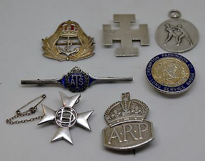 A Collection of 7 Silver Fobs/ Medals/ Brooches/ Badges Military Sweetheart, ARP
