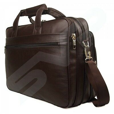 """Brown Faux Leather 15"""" 17"""" Laptop Business Work Briefcase Office Bag Carry Case"""