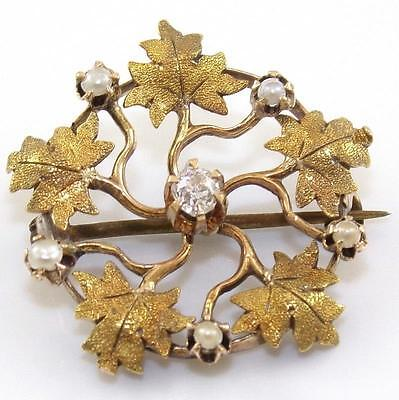 VTG Antique 10K Yellow Gold Diamond Pearl Textured Leaves Branch Pin Brooch QR1