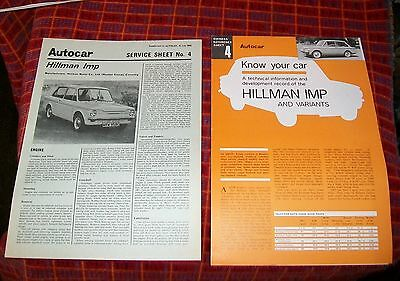 Hillman Imp Autocar Service Sheet 1969 & Owners' Reference Sheet.