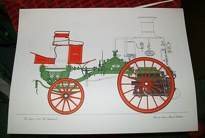 The Sutherland Horse Drawn Fire Engine 1863 Print  Science Museum Collection