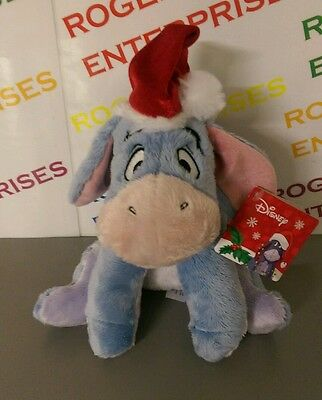 "Posh Paws Original Disney Eeyore wearing Christmas Hat 10"" Plush Soft Toy - NEW"