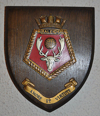 HMS Raleigh ward room shield plaque crest Royal Navy RN