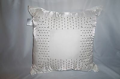 """HOTEL COLLECTION Finest Lancel white silver beaded 20"""" square throw pillow"""