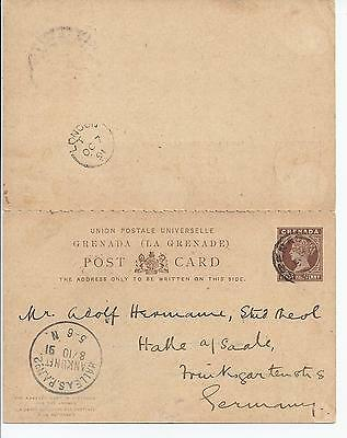 Grenada Stationery: QV 1½d+1½d Used Reply card