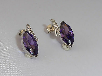 Ladies Jewellery Solid Sterling 925 Silver 4 Ct Amethyst White Sapphire Earrings