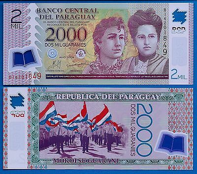 Paraguay P-228b 2000 Guaranies Year 2009 Uncirculated Banknote South America