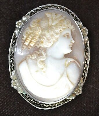 cameo cut shell pin brooch goddess lady head sterling 2 in. filigree antique