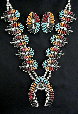 Navajo Silver and Turquoise Squash Blossom Necklace/Earrings SET Post *TB373