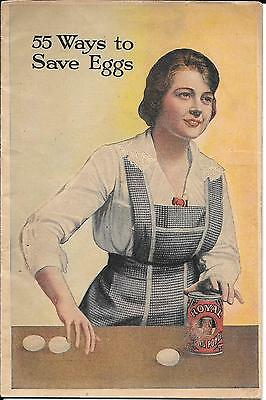 """Royal Baking Powder Booklet 1917 Recipe Book Titled """" 55 Ways To Save Eggs """""""