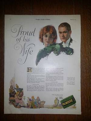 1924 antique PROUD Of His WIFE Husband PALMOLIVE SOAP VINTAGE Ad Valentine gift?