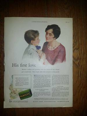 """1928 antique """"His First Love - MOM""""  PALMOLIVE SOAP Beauty Bath VINTAGE Ad"""