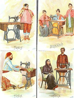 Singer sewing machine advertising 4 cards countries costumes antique 1892