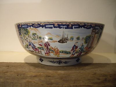 Antique Chinese Export Punch Bowl , Old Repair.