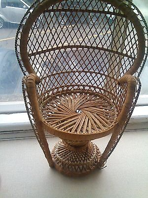 Vintage Small Wicker Chair For Doll Or Teddy Peacock Chair