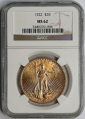 1922 Saint Gaudens Double Eagle Gold $20 MS 62 NGC