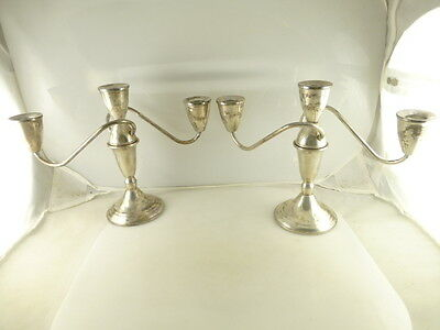 Pair of Vintage Duchin Weighted Sterling Silver 3 Light Candelabra Candlesticks