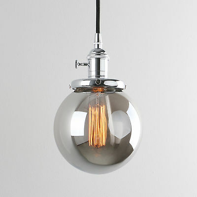 Retro Industrial Smoky Grey Glass Shade Chrome Loft Pendant Light Lamp Fixture