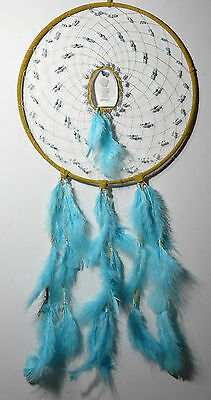 """12"""" Dreamcatcher Tan Deer hide with little boy praying etched in glass"""