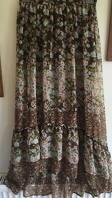 Ladies Skirt Vintage Floral Print Tiered Layered Festival Party Size 10 To 12