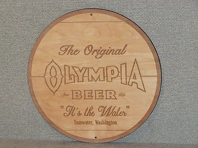 Olympia Beer Wood Sign Barrel Top Style