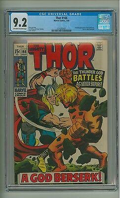 Thor 166 (CGC 9.2) OW/W pages; 2nd full app. Warlock, who battles Thor (c#12878)