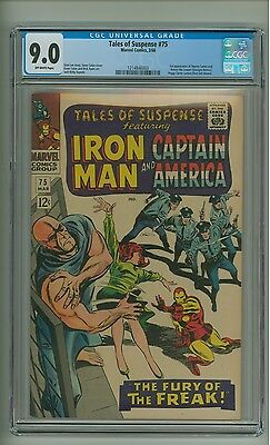Tales of Suspense 75 (CGC 9.0) O/W p; 1st app. Sharon Carter and Batroc (c#12875