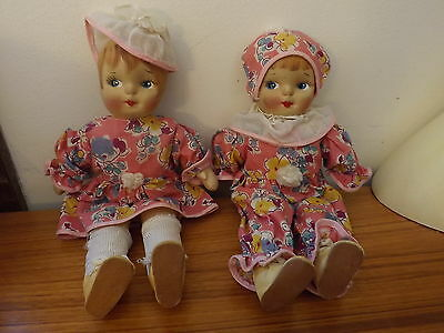 Two dolls 11 inches original clothes cloth like faces tag says Mildreth C Moon