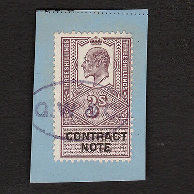 King Edward Vii Three Shillings Contract Note Stamp On Piece