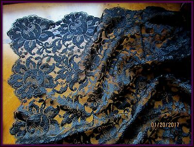 "ANTIQUE VINTAGE SCALLOPED FLOWER LACE TULLE MANTILLA SCARF BLACK 48.5"" x 23.5"""