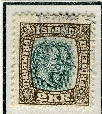 ICELAND;  1907 early Kings, Friedrich & Christian issue fine used 2Kr. value