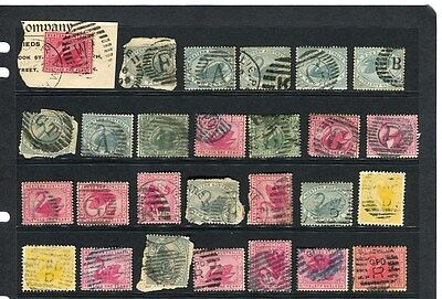 WESTERN AUSTRALIA;  1890s-1900s Swan types used LOT fine LETTERED Cancels