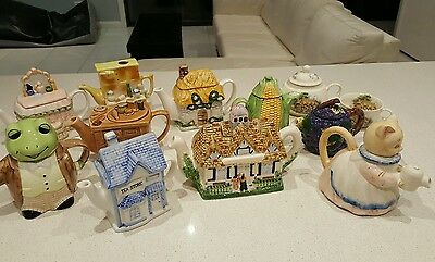 11 Novelty Teapot Collection, Excellent Used Condition
