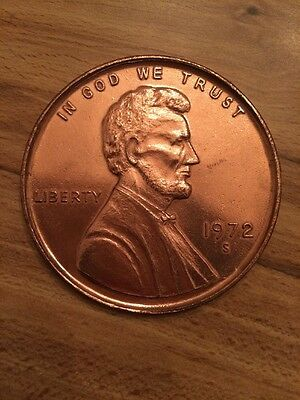 Giant Metal Lincoln Novelty Penny 1972 S - 3 Inches