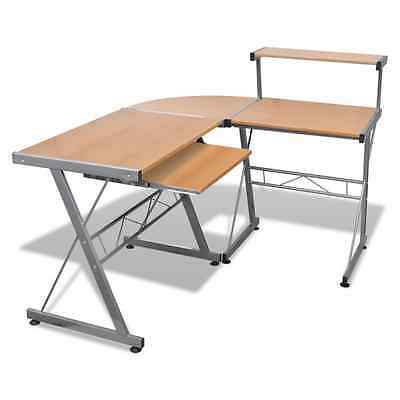 Brown Office Computer Desk Corner Table Keyboard Tray Top Shelf Student Study