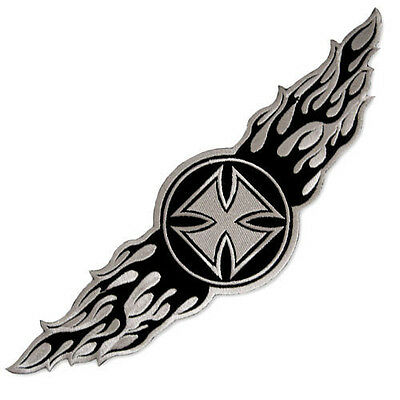 Vegasbee® Large Winged Iron Cross Wings Embroidered Patch Tattoo Biker Jacket