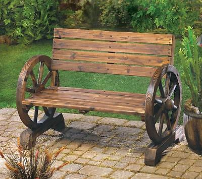 Rustic Wagon Wheel Love Seat Bench Wooden Lawn Deck Outdoor Patio Furniture