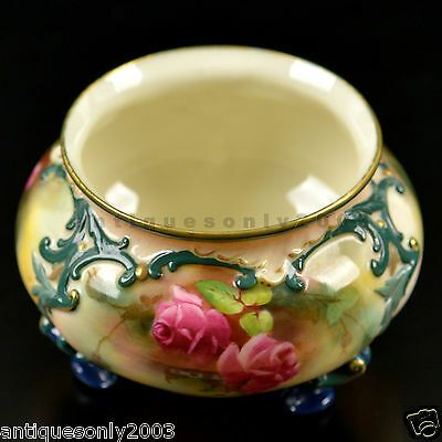Antique ROYAL WORCESTER English Rose Hand Painted Footed Vase Hadley Style 1908