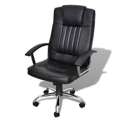 S# Executive Premium Office Chair PU Faux Leather Swivel Adjustable Padded Black