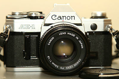 Canon AE-1 film camera with FD 50mm f1.8 kit lens