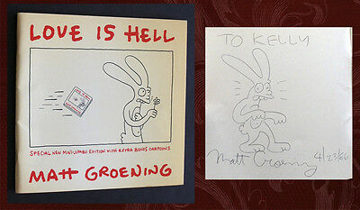 MATT GROENING SIGNED - LOVE IS HELL - 1st Pantheon Ed, (The Simpsons, Binky)