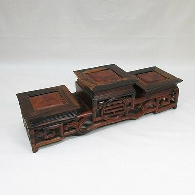 E981: Chinese KARAKI wooden three tiers of decorative stand with good taste